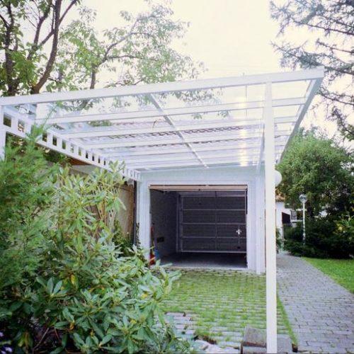 Carport aus weißem Aluminium von Stefan Lutz Überdachungen