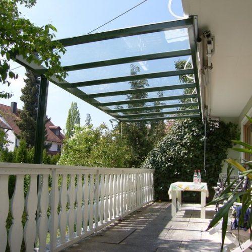Terrassendach, flach mit Glas