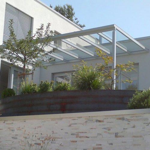 Terrassendach aus Aluminium, flach