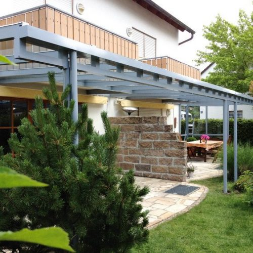 Terrassendach, flach mit Glaselementen