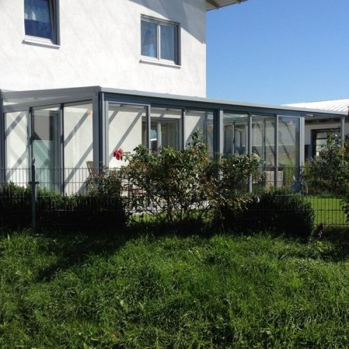 Wintergarten aus Aluminium, flache Überdachung