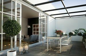Gemütliche überdachte terrasse